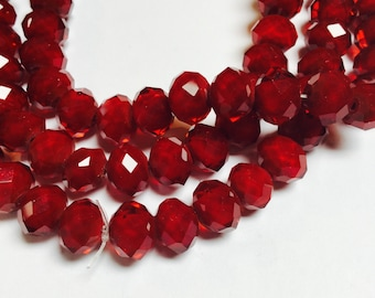 Crystal Rondelles in Deep Red - 105 Pieces - #590