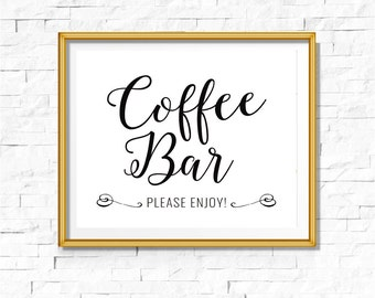 DIY PRINTABLE Black Coffee Bar Sign | Instant Download Wedding Ceremony Reception | Gold Foil Calligraphy Print | Suite | WB1 | OB14