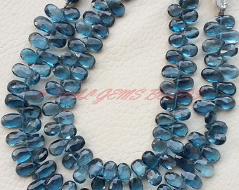 """Natural London Blue Topaz Pears, London Blue Topaz Faceted Pear Shape Briolettes, 8-10 MM Size, 8"""" Strand, Loose Gemstone Almond Beads IN"""