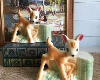 Vintage Fawn Deer Bookends or DIY Lamps