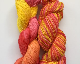 Oriental Glow Hand Dyed Sock Yarn 100g DYED TO ORDER
