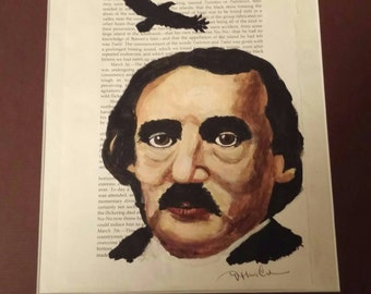 Original painting Edgar Allan Poe portrait on a page from his book, free shipping