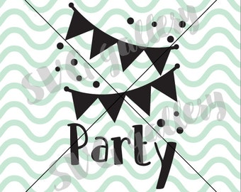 Party SVG, Birthday SVG, Digital cut file, flag banner svg, confetti svg, celebrate svg, congratulation svg, commercial use OK