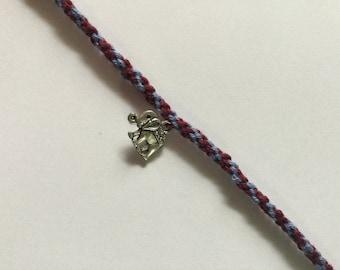 Maroon Friendship Bracelet. Choose Charms.