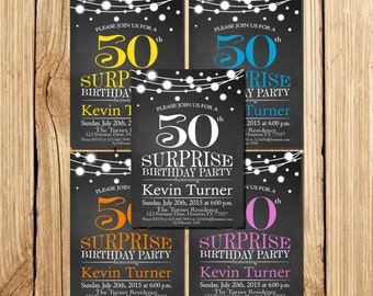 Surprise 50th Birthday Invitation, for woman, 40th 50th 60th 30th Birthday, Printable Birthday Invitation, purple