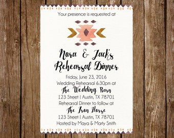 Aztec Tribal Watercolor Rehearsal Dinner Invitation | Printable | Instant Download | ANY Occasion