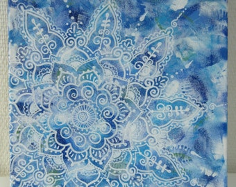Flower Mandala Painting, Blue and White, Handpainted with acrylic, Hippie art, Home decor, FREE SHIPPING