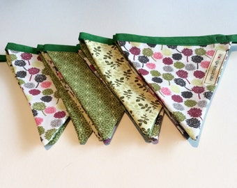 Back to nature bunting (in green & pink)