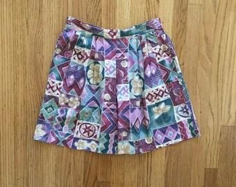 Vintage 90's High Wasted Patterned Skort / Skirt / Shorts Small