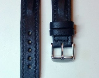 Leather watch strap, navy blue