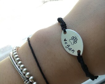Vegan Hand-Stamped Hand Made Black Cord Aluminum Disc Tie-On Bracelet