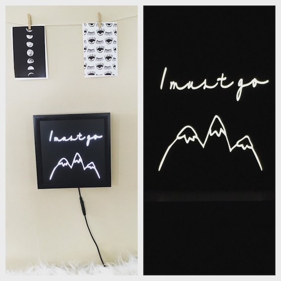Wall Decor Light Up Letters : neon light sign, neon sign, mountains are calling, night light, light up sign, hippy decor ...
