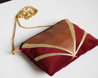 Bag art deco in Burgundy velvet pouch