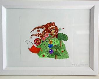 Fox Girl - Nursery Print / Girl's Bedroom