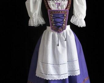 New Purple Bavarian German Oktoberfest Dirndl Dress Gown Costume