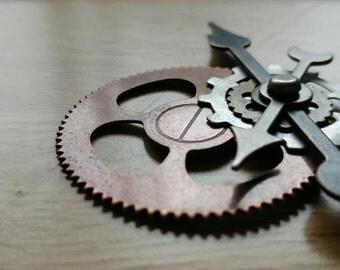 Steampunk pendant, gears, industrial, sci-fi pendant