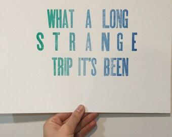 Grateful dead hippie trippy boho letterpress poster