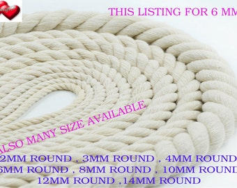 6mm  100% x 1meter Natural Pure Cotton Rope 3Strand Braided Twisted Cord Twine Sash