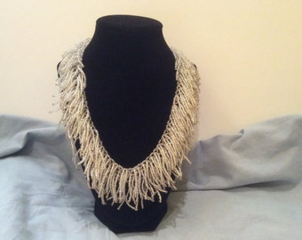Handmade Beaded Fringe Necklace