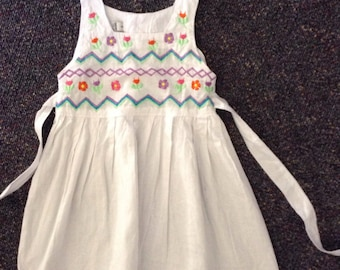 White cotton dress with embroided yoke