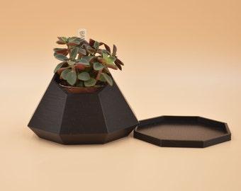 Black geo succulent Planter / 3D printed planter /  cactus vase / geometric planter / eco product / minimal home decor/Mini planter