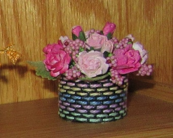 1:12 Dollhouse Miniature Floral in Handcrafted Basket