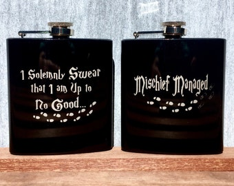 Harry Potter Flask with Quote - I Solemnly Swear that I am Up to No Good - Mischief Managed - Footprints