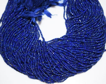 Good Quality Lapis Rondelle Beads 13 Inch Strand ,Lapis Faceted Rondelle Beads , 3-3.25 mm - MC333