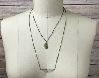 Beaded multi chain necklace