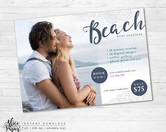 Beach Mini Session Template, Marketing Board, Beach Photography, Summer Mini Sessions, PSD, Photoshop Template, Photography Marketing Set