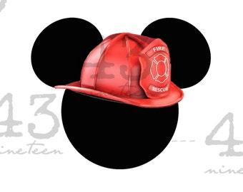 Digital File - Firefighter Disney Mickey Ears: First Responders  Disney World Disneyland