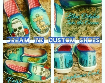 """Blue October  """"Into the Ocean"""" Custom made shoes"""