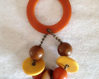 Vintage Bakelite Teether from the 1940's with 8 Beads- Can Be Repurposed