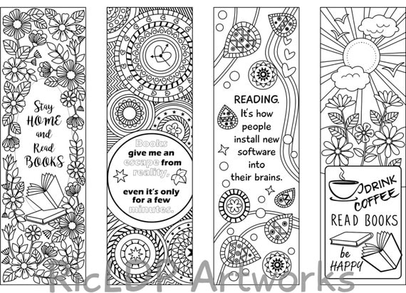 Printable 8 Coloring Bookmarks Four 4 with by RicLDPArtworks