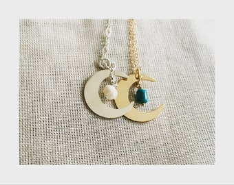 sterling silver OR gold-filled crescent moon necklace