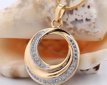 18K Gold filled Fashion Jewelry Swarovski crystal unique pendant necklace