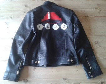 Ladie's DEVO Hand-Painted Leather Jacket, Size12