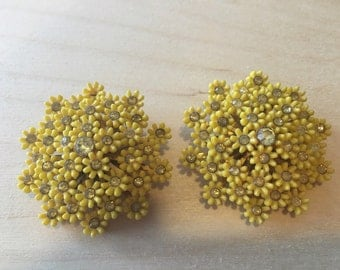 Vintage Yellow Floral Clip On Earrings