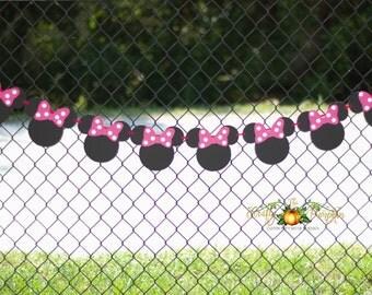 Minnie Mouse Banner, Minnie Birthday Banner, Minnie Mouse Head Banner