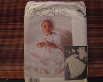 Boss McCall's 2892 / christening gown and petticoat - CAP and Slipper for baby