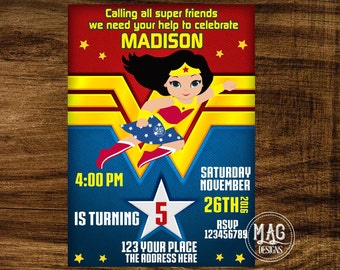 Wonder Woman Invitation - Wonder Woman Party Invitation - Wonder Woman Birthday Invitation -  Wonder Woman. Digital File.