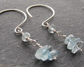 Aquamarine Earrings, Aqua blue earrings, Gemstone earrings, Raw stone earrings, gift women,gift for her, gift for mom,Anniversery Gift