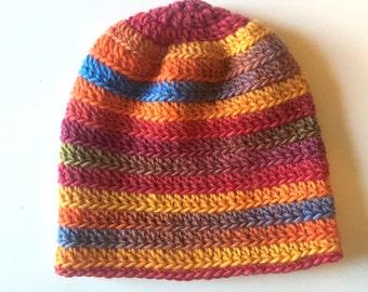Crochet Multicolored Wool Hat.