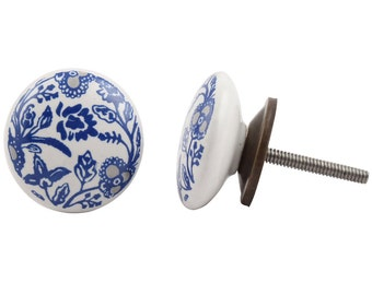 Blue and Grey Flowers  Draw Knob /Drawer Pulls / Dresser Knobs / Wardrobe  Handles