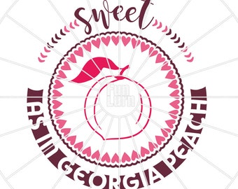 Sweet as in Georgia Peach svg , Gerogia SVG, Georgia Peach SVG, state, sweet svg, png, dxf, eps for silhouette cameo, ciruct etc.