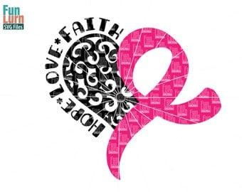 Breast Cancer Awareness SVG, Swirl heart, swirly, Support, Hope, Love, Faith,Pink ribbon, Cancer Survivor, Survivor,Fighter svg png dxf eps