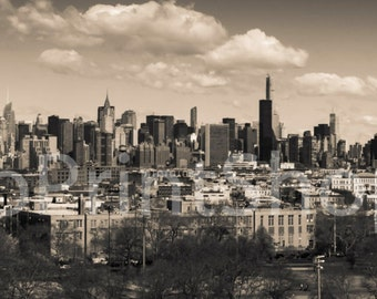 Canvas, New York City NYC Skyline from Brooklyn, 2015 - SEPIA - Panoramic Print - Panorama Photo