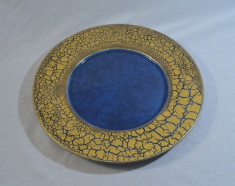 ON SALE:  Jacques Molin Charolles Blue with Gold and Blue Border Ceramic Plate
