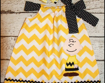 Peanuts Charlie Brown Pillowcase style dress  matching hair bow avaliable
