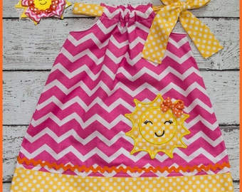 You are my Sunshine  Pillowcase style dress  Hot Pink Chevron and Yellow with Sunshine face applique